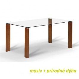 Jídelní stůl, s tvrzeným sklem 12 mm, trešeň, NEMEZ