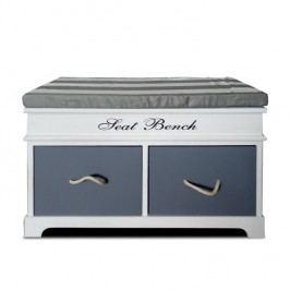 Lavice s polštářem, 2 zásuvková, šedá / bílá, SEAT BENCH 2 NEW