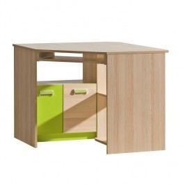 PC stůl rohový EGO L11, jasan/zelený