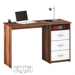 PC stůl LARISTOTE, bílá/švestka
