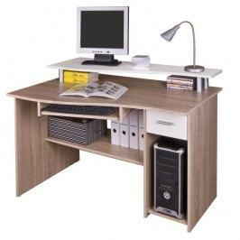 PC stůl PLUTO, dub sonoma/bílá