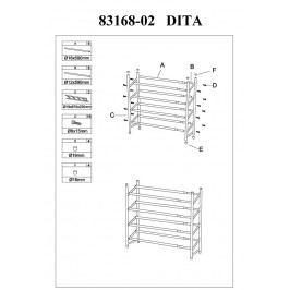 Botník nastavitelný čtyřřadý DITA, chrom