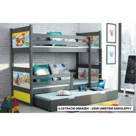 b2b1 BMS-group Dětská postel s přistýlkou DAVID 90x200 cm, grafitová/bílá Pěnová matrace