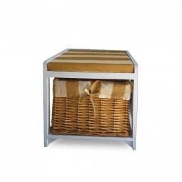 Lavice na sezení s 1 košíkem, bílá / medový, GINGER 3