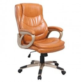 Kancelářská židle, ekokůže hnědá, LANDER