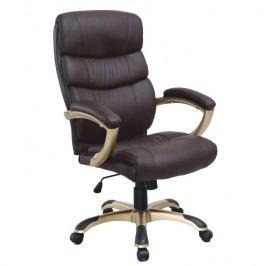 Kancelářská židle, ekokůže hnědá / plast, GORDON