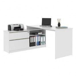 PC stůl, rohový s policí, bílá / beton, BENTOS