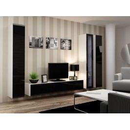 Cama Vitrína prosklená VIGO 180, bílá matná/černý lesk
