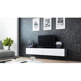 Cama RTV stolek VIGO 180, šedá matná/bílý lesk