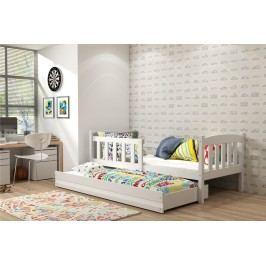 b2b1 BMS-group Dětská postel s přistýlkou KUBUS 2 80x190 cm, bílá/bílá Pěnová matrace