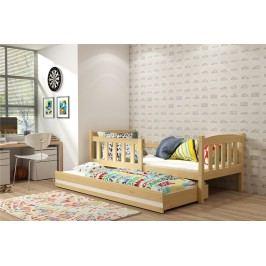 b2b1 BMS-group Dětská postel s přistýlkou KUBUS 2 80x190 cm, borovice/bílá Pěnová matrace