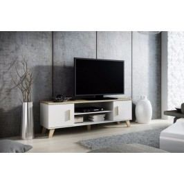 Cama RTV stolek LOTTA 160 2D2K, sněhobílá matná/dub sonoma