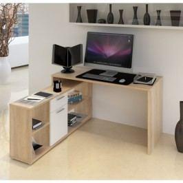 Tempo Kondela, s.r.o. PC stůl, dub sonoma / bílá, NOE NEW