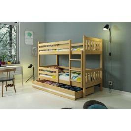 b2b1 BMS-group Patrová postel CARINO 80x190 cm, borovice/bílá Pěnová matrace