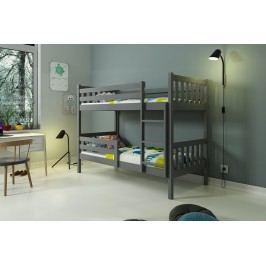 b2b1 BMS-group Patrová postel bez zásuvky CARINO 90x200 cm, grafitová/bílá Pěnová matrace