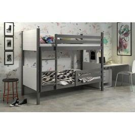 b2b1 BMS-group Patrová postel bez zásuvky CLIR 90x200 cm, grafitová/bílá Pěnová matrace