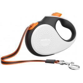 Reedog Senza Premium samonavíjecí vodítko L  50kg / 5m páska / bílé s oranžovou