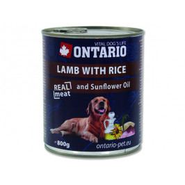 Konzerva ONTARIO Dog Lamb, Rice and Sunflower Oil 800g