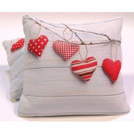 Dekorační polštář Vintage Hearts 40x40 cm polyester