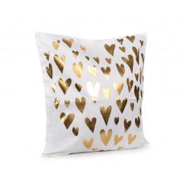 Povlak na polštářek Gold Srdíčka bílá 45x45 cm polyester