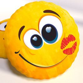 Dekorační polštář smajlík Kiss 40x40 cm žlutá