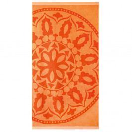 Plážová osuška Mandala oranžová Osuška bavlna