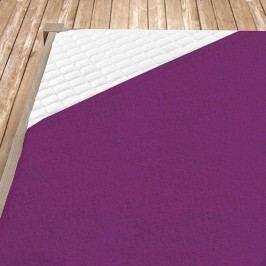 Napínací froté prostěradlo tmavě fialové 160x200 cm dvojlůžko Froté