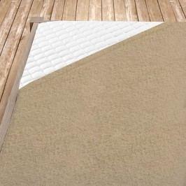 Napínací froté prostěradlo béžové 100x200 cm jednolůžko - standard froté