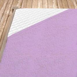 Napínací froté prostěradlo světle fialové 160x200 cm dvojlůžko Froté