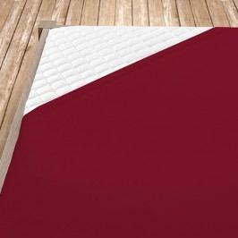 Napínací jersey prostěradlo bordó 180x200 cm dvojlůžko - standard Jersey
