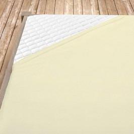 Napínací jersey prostěradlo krémové 160x200 cm dvojlůžko Jersey
