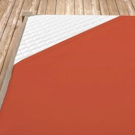 Napínací jersey prostěradlo terrakotové 140x200 cm jednolůžko Jersey