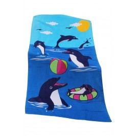 Dětská plážová osuška Dolphin game 70x140 cm; 320 gr/m2 modrá