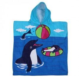 Dětské pončo Dolphin game 60x120 cm; 320 gr/m2 modrá