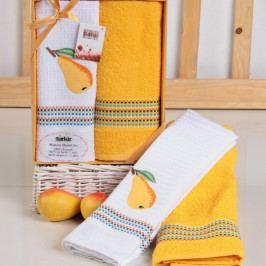 Dárková sada ručníku a utěrky Mimosa hruška 50x70 cm bavlna
