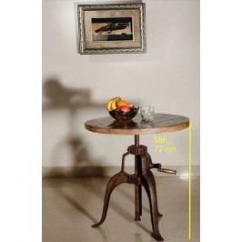 INDUSTRY kulatý stůl #21, litina a staré dřevo