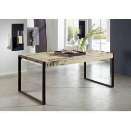 FABRICA jídelní stůl #116, 160x90 litina a mangové dřevo, potlač