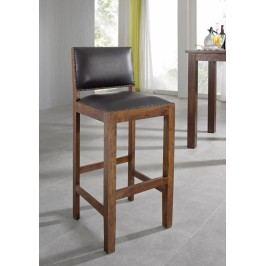 Koloniální barová židle, pravá kůže, masivní akátové dřevo CAMBRIDGE #521