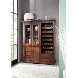 Koloniální skříň na víno, masivní akátové dřevo CAMBRIDGE #519