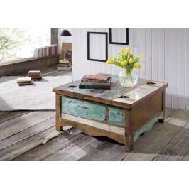 OLDTIME konferenční stolek - 90x90cm lakované staré indické dřevo