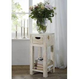 WHITE WOOD příruční stolek malovaný akátový nábytek