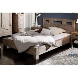 Sheesham postel 140x200, masivní palisandrové dřevo GREY WOOD #203