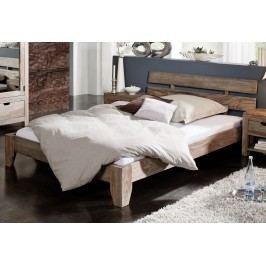 Sheesham postel 140x200, masivní palisandrové dřevo GREY WOOD #210