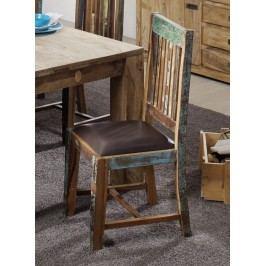 OLDTIME židle s pravou kůží, hnědá lakované staré indické dřevo