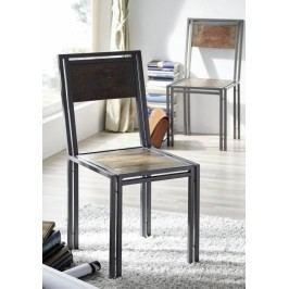 PORTO židle staré lakované indické dřevo/kov