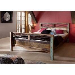 OLDTIME postel - 140x200cm lakované staré indické dřevo