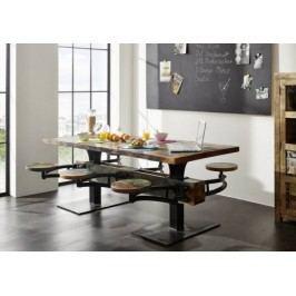 INDUSTRY jídelní stůl 180x90 #62, litina a staré dřevo