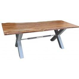 DARKNESS Jídelní stůl 220x100cm X-nohy – stříbrná