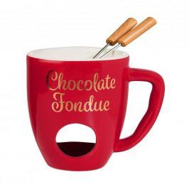 CHOCOLATE FONDUE Hrnek se 2 vidličkami - červená