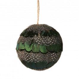 HANG ON Ozdoba koule s peřím 8 cm - zelená